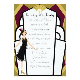 Art  Deco Doll 13 Cm X 18 Cm Invitation Card
