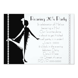 Art  Deco Doll with Pearls 13 Cm X 18 Cm Invitation Card