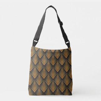 Art Deco Dragon Scales black & gold tan Crossbody Bag