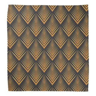 Art Deco Dragon Scales black & gold tan Head Kerchief
