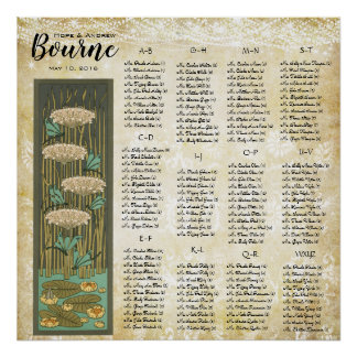ART DECO Dragonfly Lilypad Wedding Seating Chart