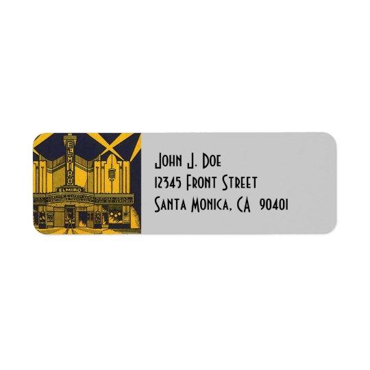 Art Deco El Miro theatre Arch Return Address Label