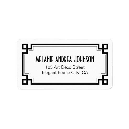 Art Deco Elegant Black Frame White Return Address Address Label