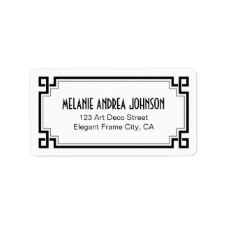 Art Deco Elegant Black Frame White Return Address Label