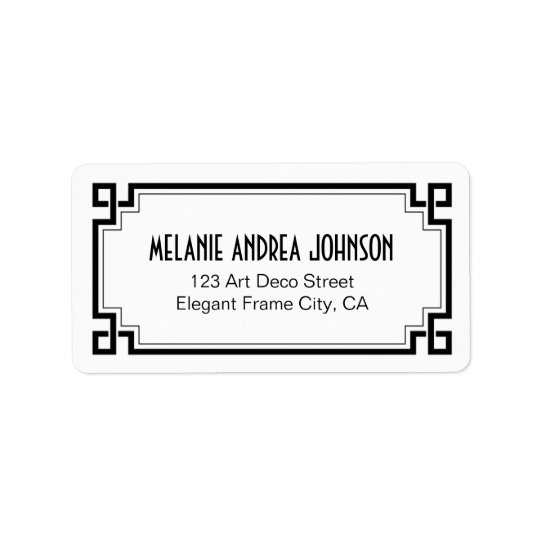 Art Deco Elegant Black Frame White Return Address