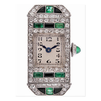 Art Deco Emeralds and Diamonds Watch Postcard