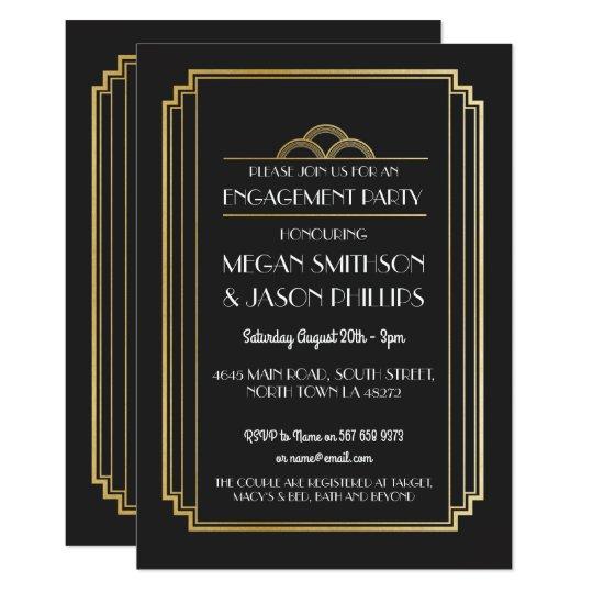 Art Deco Engagement Party Invitations Gold