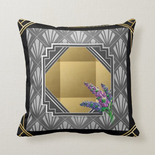 Art Deco English Lavender black grey silver gold