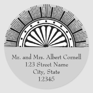 Art Deco Envelope Seal Round Sticker