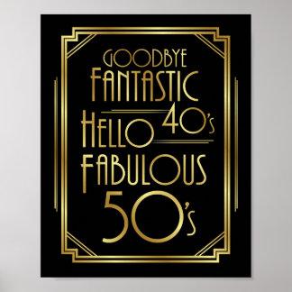 Art Deco FABULOUS 50th BIRTHDAY Sign Print