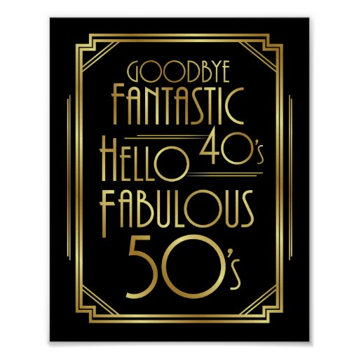 Art Deco FABULOUS 50th BIRTHDAY Sign Print