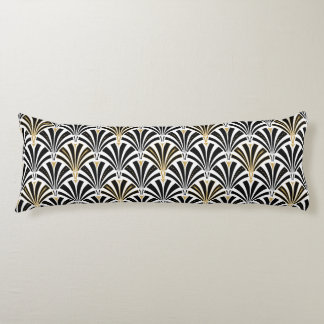 Art Deco fan pattern - black and white Body Cushion