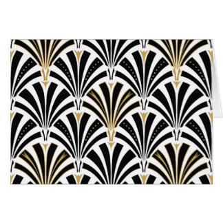 Art Deco fan pattern - black and white Card