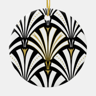 Art Deco fan pattern - black and white Christmas Ornament