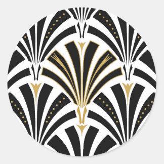 Art Deco fan pattern - black and white Classic Round Sticker