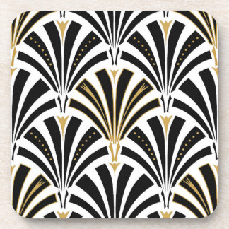 Art Deco fan pattern - black and white Coaster