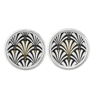 Art Deco fan pattern - black and white Cufflinks