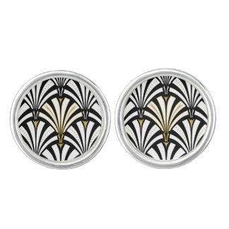 Art Deco fan pattern - black and white Cufflinks