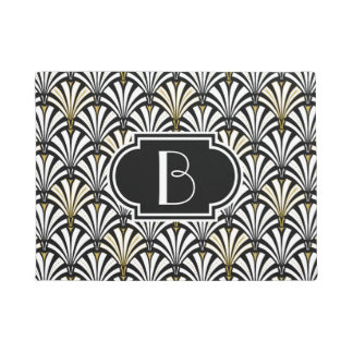 Art Deco fan pattern - black and white Doormat