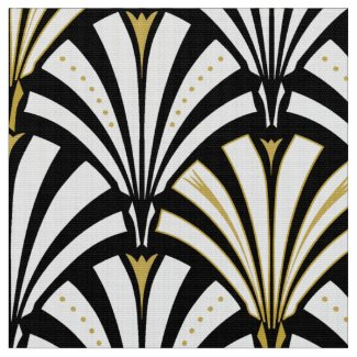 Art Deco fan pattern - black and white Fabric