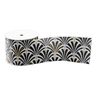 Art Deco fan pattern - black and white Grosgrain Ribbon