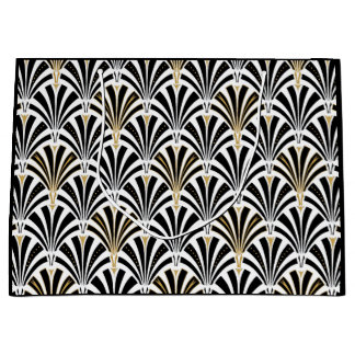 Art Deco fan pattern - black and white Large Gift Bag