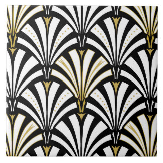Art Deco fan pattern - black and white Large Square Tile