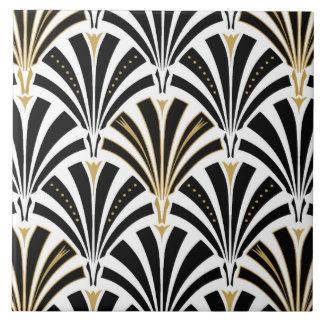 Art Deco fan pattern - black and white Large Square Tile