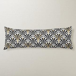Art Deco fan pattern - black and white Body Pillow
