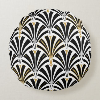 Art Deco fan pattern - black and white Round Pillow