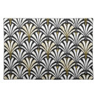 Art Deco fan pattern - black and white Placemat