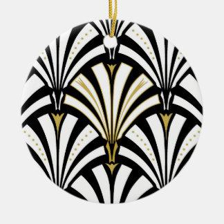 Art Deco fan pattern - black and white Round Ceramic Decoration