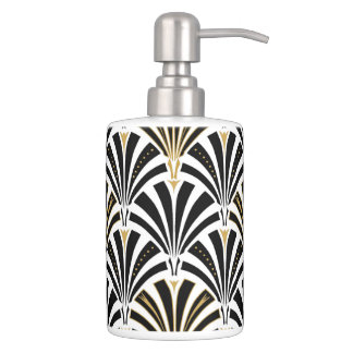 Art Deco fan pattern - black and white Soap Dispensers