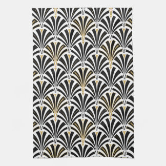 Art Deco fan pattern - black and white Tea Towel