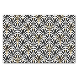 "Art Deco fan pattern - black and white 10"" X 15"" Tissue Paper"