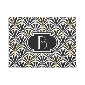 Art Deco fan pattern - black on white with gold Doormat