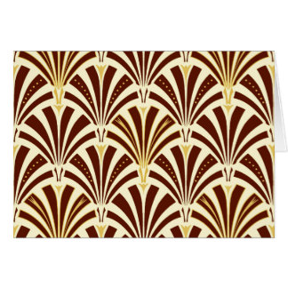 Art Deco fan pattern - chocolate on cream Card