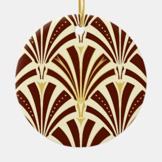 Art Deco fan pattern - chocolate on cream Christmas Ornament