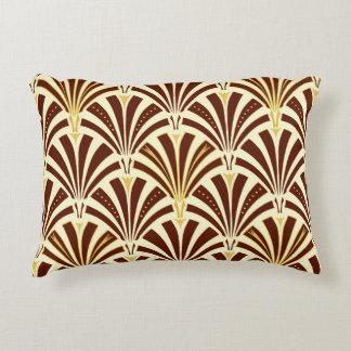 Art Deco fan pattern - chocolate on cream Accent Pillow