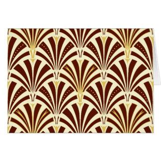 Art Deco fan pattern - chocolate on cream Note Card
