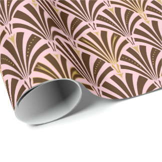 Art Deco fan pattern - chocolate on pink Wrapping Paper
