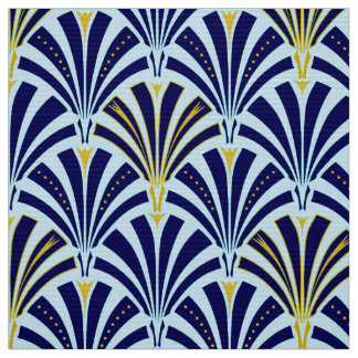 Art Deco fan pattern - cobalt and sky blue Fabric