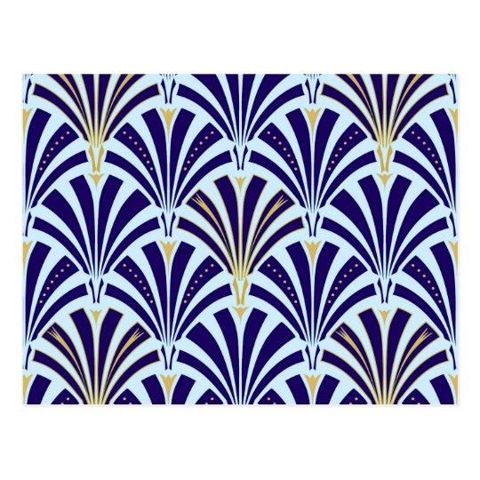 Art Deco fan pattern - cobalt and sky blue Postcard