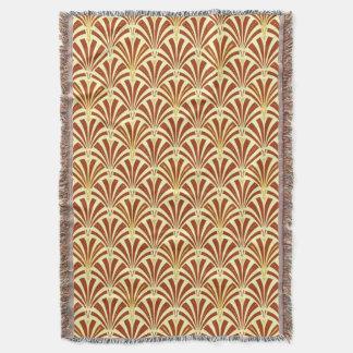 Art Deco fan pattern - copper on yellow Throw Blanket