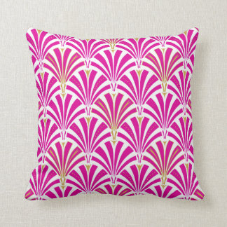 Art Deco fan pattern - fuchsia pink Cushion