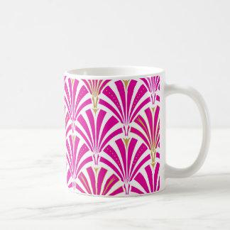 Art Deco fan pattern - fuchsia pink Coffee Mugs