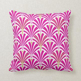 Art Deco fan pattern - fuchsia pink Throw Pillow