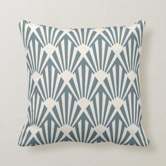 Art Deco Fan Pattern in Steel Blue Cushion