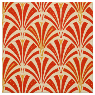 Art Deco fan pattern - mandarin orange Fabric