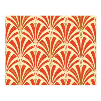 Art Deco fan pattern - mandarin orange Postcard